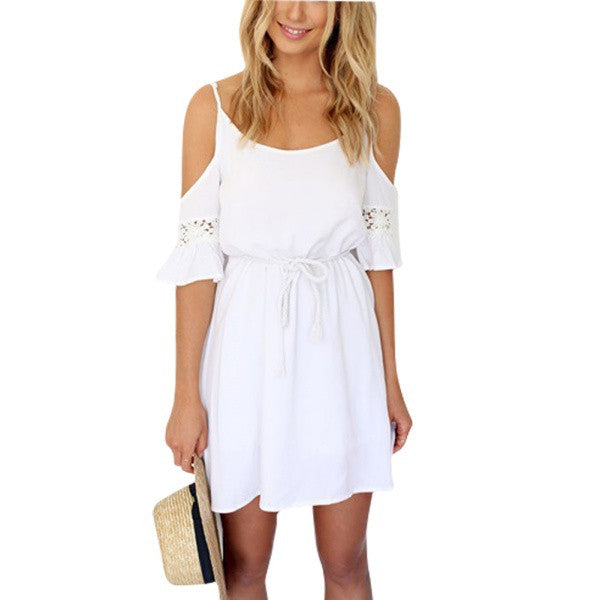 Women Casual Lace Strap Off Shoulder Dress - All In One Place With Us - 1