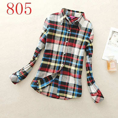 Spring Autumn Female Casual 100% Cotton Long-Sleeve Shirt - All In One Place With Us - 7