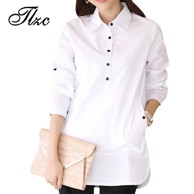 Elegant Blouse White Shirt Women Size S-3XL Ladies Office Shirts - All In One Place With Us - 1