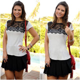 Black White Lace Patchwork  Women  Blouse - All In One Place With Us - 1