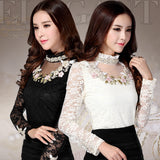 Long Sleeve Ladies Chiffon Shirt  Lace Blouses - All In One Place With Us - 1