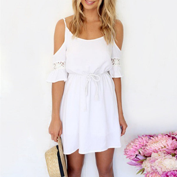 Women Casual Lace Strap Off Shoulder Dress - All In One Place With Us - 2