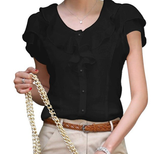 Women Elegant Ruffles Chiffon Blouse - All In One Place With Us - 3