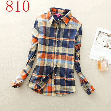 Spring Autumn Female Casual 100% Cotton Long-Sleeve Shirt - All In One Place With Us - 3