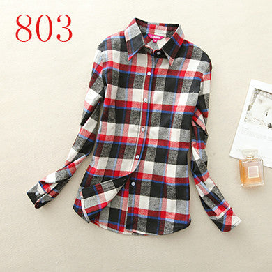 Spring Autumn Female Casual 100% Cotton Long-Sleeve Shirt - All In One Place With Us - 13