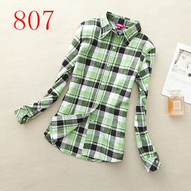 Spring Autumn Female Casual 100% Cotton Long-Sleeve Shirt - All In One Place With Us - 8