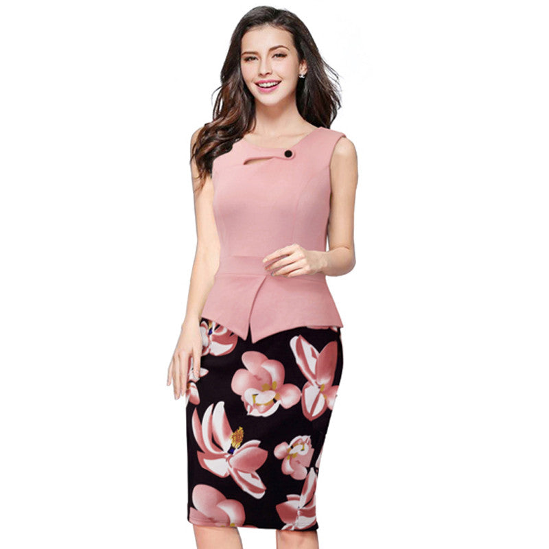 Summer Elegant Women Business Dress Pink Print  Floral Tunic - All In One Place With Us - 8