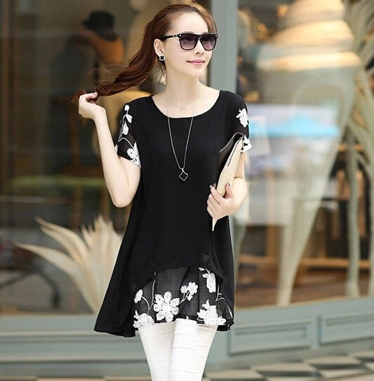 Women Casual Chiffon Embroidery Blouse - All In One Place With Us - 2