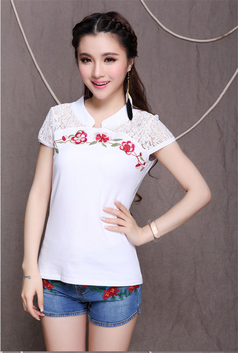 Embroidery Cotton Casual Blouse - All In One Place With Us - 20