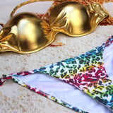 Women Lady Sexy Crystal Padded Top Set Strapless Bikini Swimwear - All In One Place With Us - 5