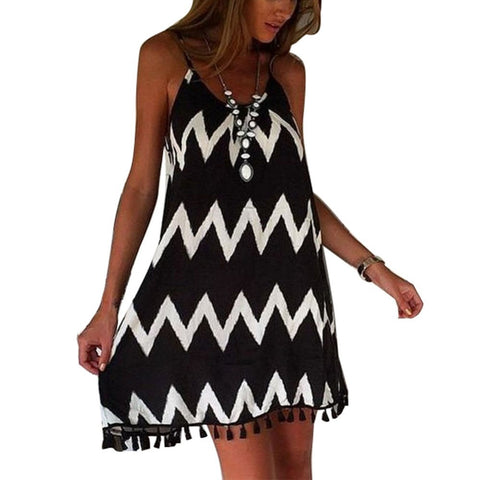 Women Chiffon Striped Party Dress - All In One Place With Us