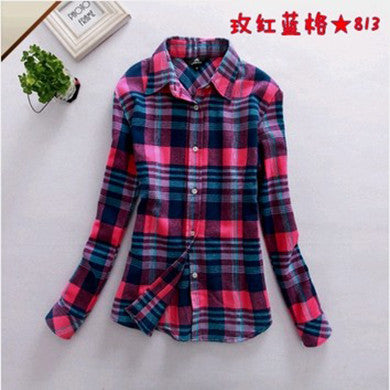 Spring Autumn Female Casual 100% Cotton Long-Sleeve Shirt - All In One Place With Us - 4