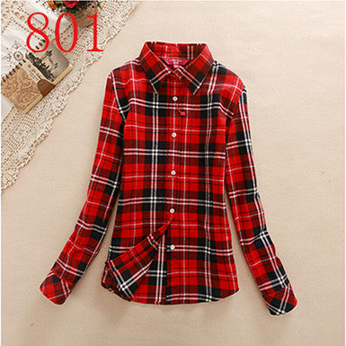 Spring Autumn Female Casual 100% Cotton Long-Sleeve Shirt - All In One Place With Us - 6