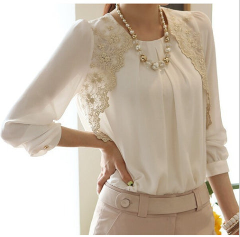 Women Chiffon Brand Lace Office Blouse - All In One Place With Us - 1