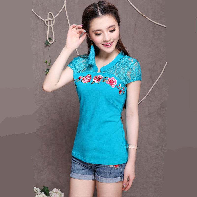 Embroidery Cotton Casual Blouse - All In One Place With Us - 1