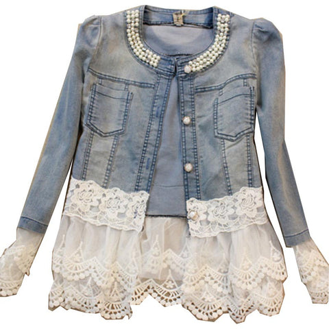 2016 Women Design Slim Lace Denim Jacket - All In One Place With Us - 1
