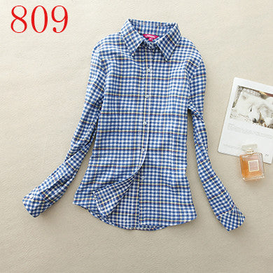 Spring Autumn Female Casual 100% Cotton Long-Sleeve Shirt - All In One Place With Us - 10