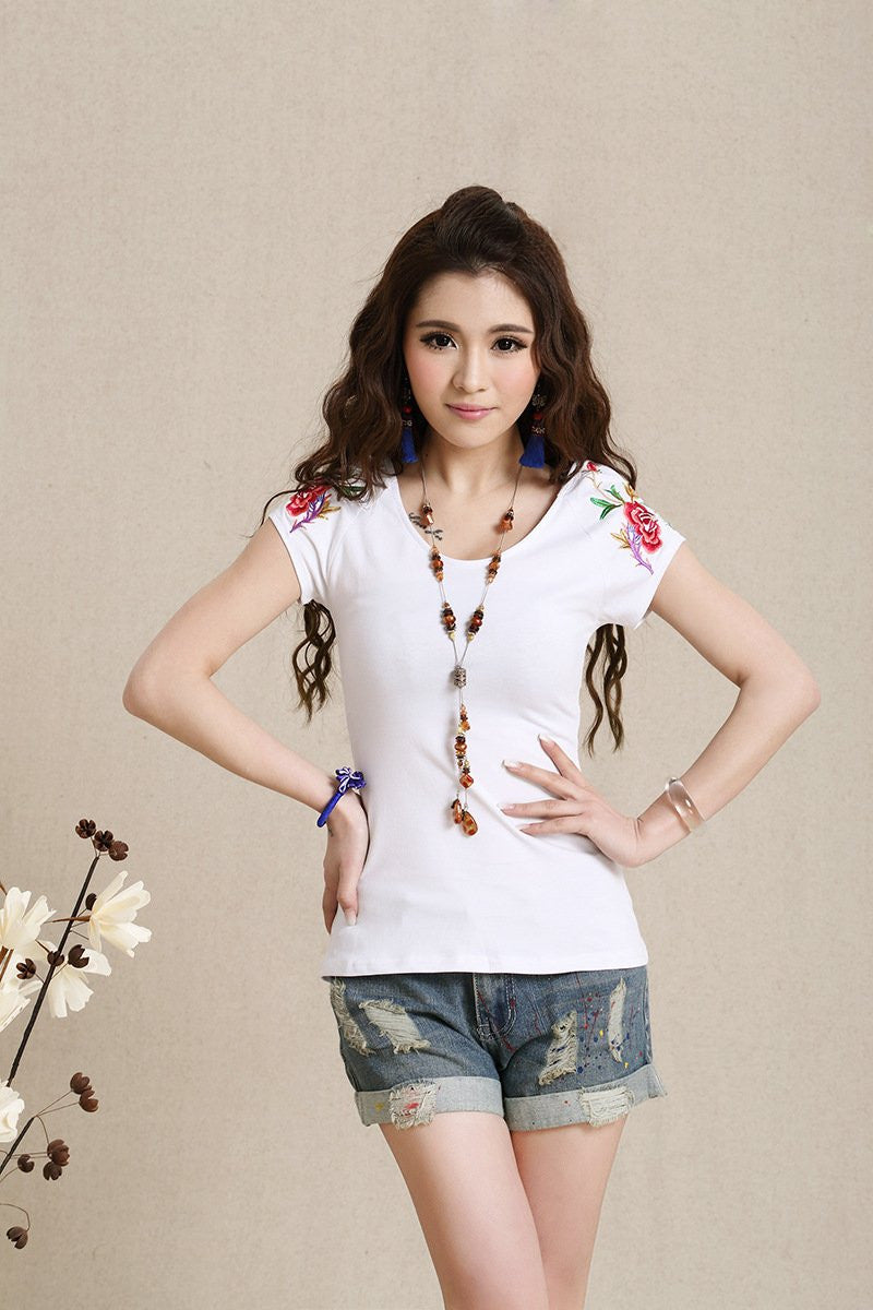 Embroidery Cotton Casual Blouse - All In One Place With Us - 11