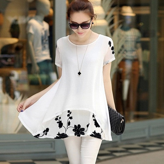 Women Casual Chiffon Embroidery Blouse - All In One Place With Us - 3