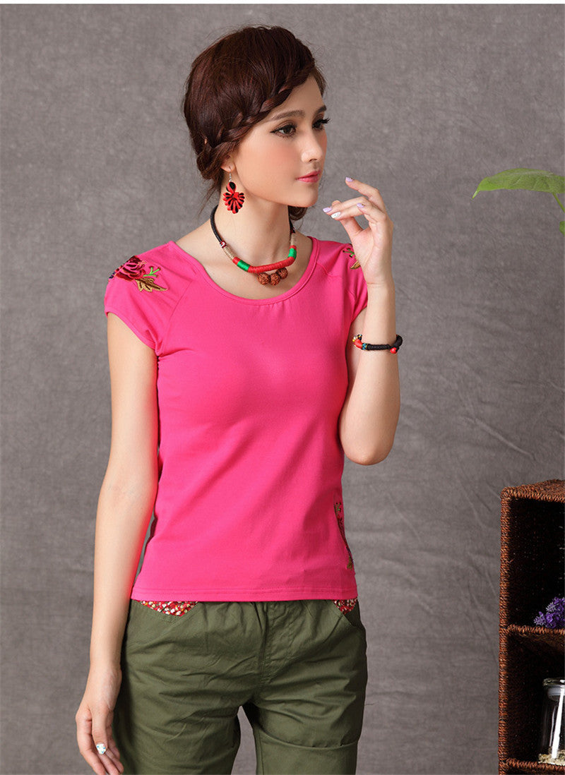 Embroidery Cotton Casual Blouse - All In One Place With Us - 22