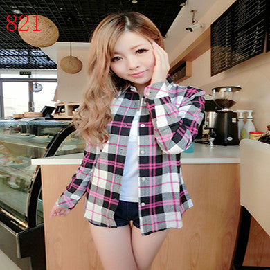 Spring Autumn Female Casual 100% Cotton Long-Sleeve Shirt - All In One Place With Us - 17