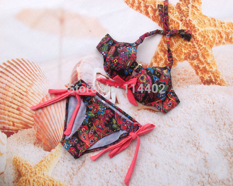 Women Lady Sexy Crystal Padded Top Set Strapless Bikini Swimwear - All In One Place With Us - 14