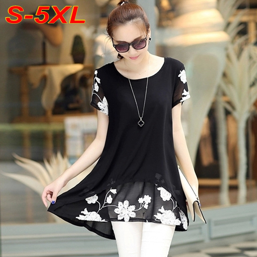 Women Casual Chiffon Embroidery Blouse - All In One Place With Us - 1