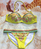 Women Lady Sexy Crystal Padded Top Set Strapless Bikini Swimwear - All In One Place With Us - 15