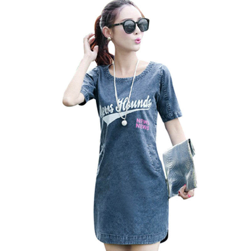 Casual Sexy Denim Dress Women Fashion Denim Dress Short Sleeve - All In One Place With Us - 1