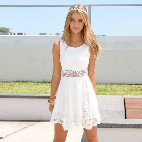 Women Sleeveless Floral Lace Dress - All In One Place With Us - 1