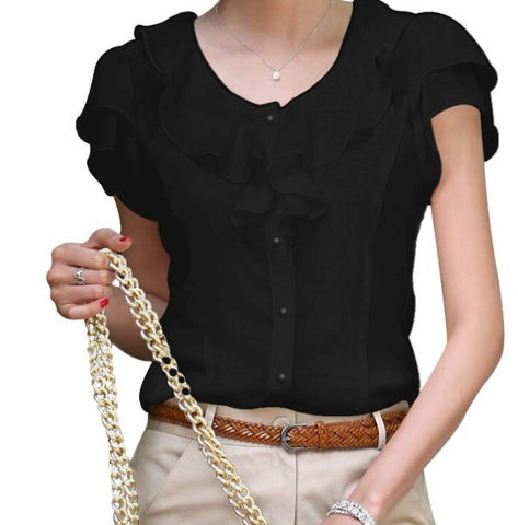 Women Fashion Ruffles Chiffon Blouse - All In One Place With Us - 3