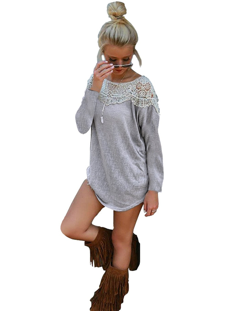 New Fashion Women T-shirt Long Sleeve Lace Patchwork T Shirt Solid Cotton Blend Basic Tops Plus Size Gray - All In One Place With Us