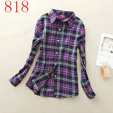 Spring Autumn Female Casual 100% Cotton Long-Sleeve Shirt - All In One Place With Us - 20