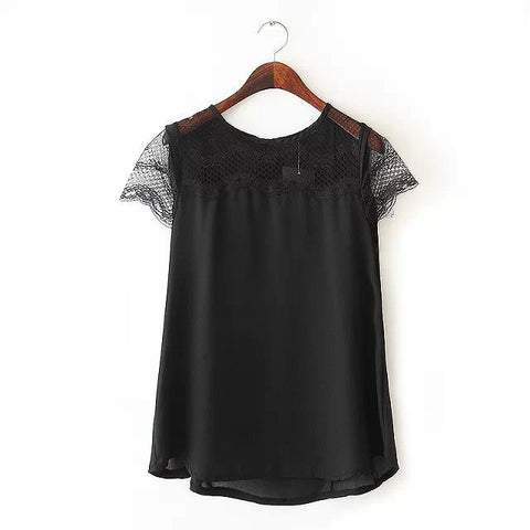 Women Summer solid sweet lace spliced sexy blouses - All In One Place With Us - 2