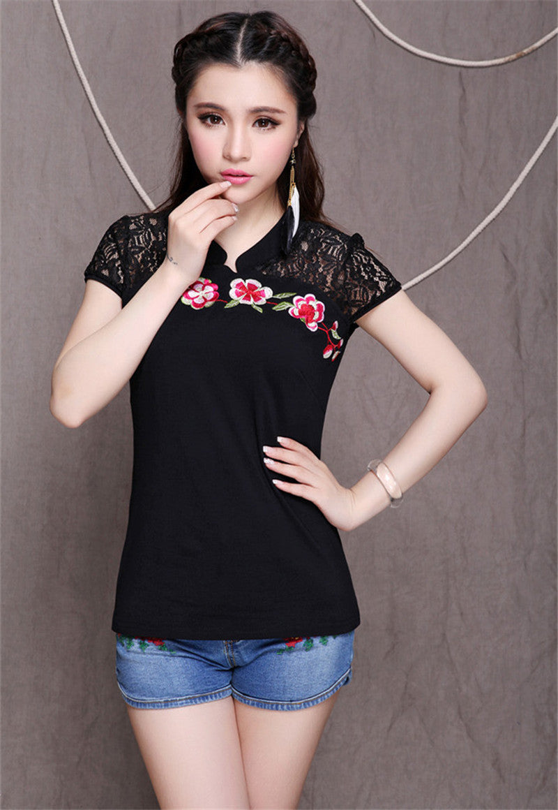 Embroidery Cotton Casual Blouse - All In One Place With Us - 13