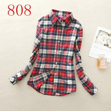 Spring Autumn Female Casual 100% Cotton Long-Sleeve Shirt - All In One Place With Us - 22