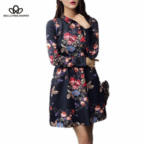 Women flroal elegant causal long sleeve dress - All In One Place With Us