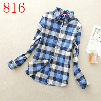 Spring Autumn Female Casual 100% Cotton Long-Sleeve Shirt - All In One Place With Us - 15