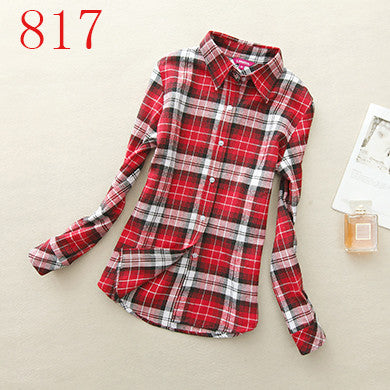 Spring Autumn Female Casual 100% Cotton Long-Sleeve Shirt - All In One Place With Us - 21