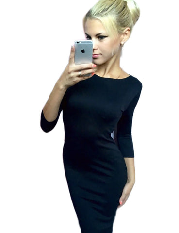 New Sexy halter dress Autumn Winter 3/4 Sleeve Sexy Deep O-Neck Party Dresses - All In One Place With Us - 3