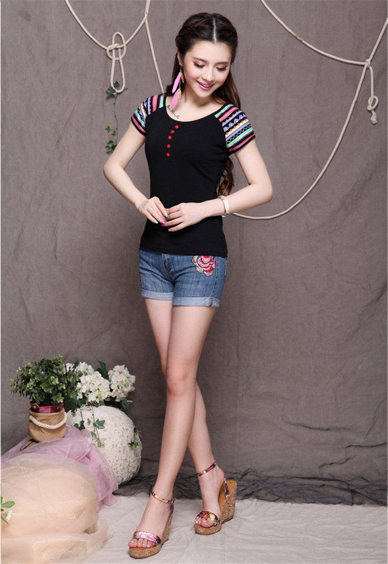 Embroidery Cotton Casual Blouse - All In One Place With Us - 7