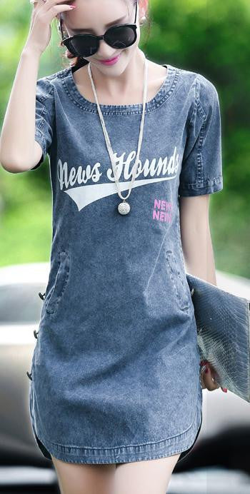 Casual Sexy Denim Dress Women Fashion Denim Dress Short Sleeve - All In One Place With Us - 2