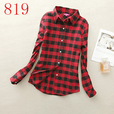 Spring Autumn Female Casual 100% Cotton Long-Sleeve Shirt - All In One Place With Us - 11