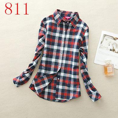 Spring Autumn Female Casual 100% Cotton Long-Sleeve Shirt - All In One Place With Us - 5