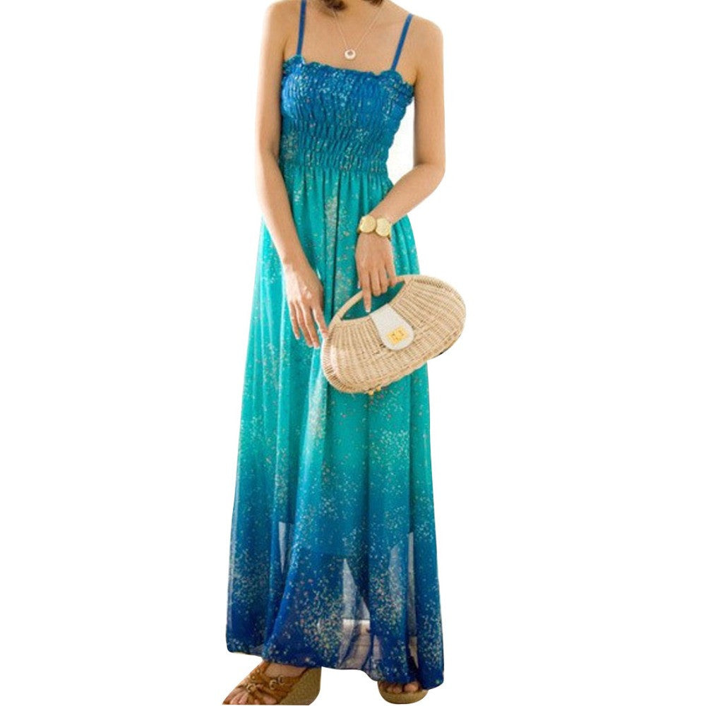 Women Chiffon Bohemia Floral Long Maxi Dress - All In One Place With Us