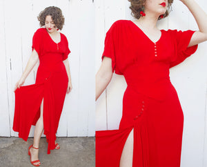 SOLD Karen Alexander Red Sweetheart Dress | Large