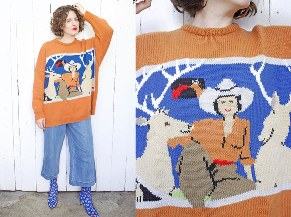 SOLD Hand Knit Cowgirl Suga Sweater | 2XL