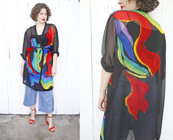SOLD Yolanda Lorente Hand Painted Silk Robe | XL