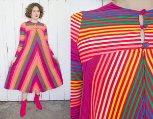 SOLD Saks Fifth Ave Rainbow Stripe Tent Dress XS|S