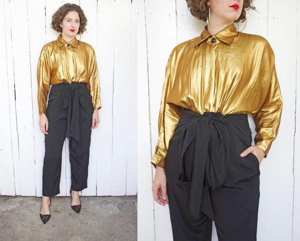 Bronze Metallic and Black Jumpsuit M|L